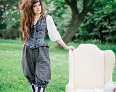 Plaid Steampunk Bloomers - Knee Length Pants -  Mad Hatter Costume -Gothic Lolita Pirate-Custom to order