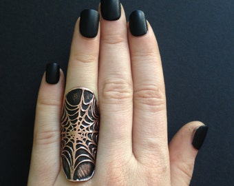 Spider Web Ring Cuff - Halloween Jewlery -  handmade out of copper in my Austin Tx Studio - by Jamie Spinello