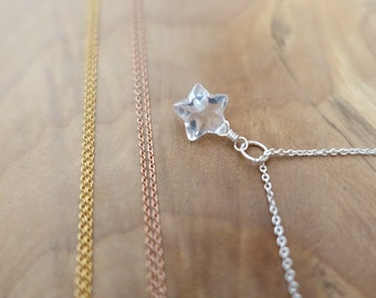 Sterling Silver Rock Quartz Necklace, Silver Star Necklace, Rose Gold Star Necklace, Gold Quartz Star Necklace, Gold Filled Star Necklace