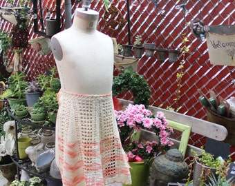Knit Orange and White Half-Apron