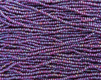 6/0 Opaque Plum Wine with Black and White Stripe AB Czech Glass Seed Bead Strand (CW166)