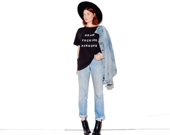 GRAM PARSONS T Shirt tshirt tee Gram Fucking Parsons bold letter font the byrds country music band shirt