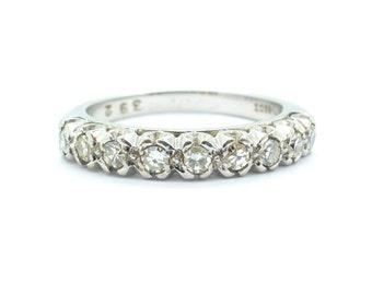 Art Deco Diamond wedding band 18ct/18K white gold Antique half hoop Eternity annversary ring Vintage wedding*Video LInk*FREE SHIPPING*
