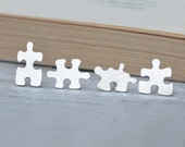 Jigsaw Puzzle Ear Studs Handmade In Sterling Silver From UK