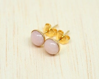 Pink Opal Gemstone Ear Stud Earrings \\ Vermeil - Gold over 925 Sterling Silver \\ 6mm Round \\ Natural Opal Jewelry