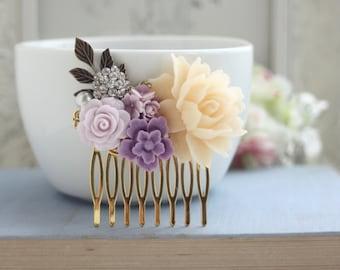 Ivory Lavender Rose Gold Comb, Lavender Crystal Rhinestone Leaf Cream, Unique Flower Comb Vintage Rustic Purple Ivory Wedding Purple Wedding