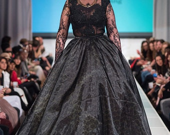 Black Lace Very Tall Plus Size Ball Gown Skirt