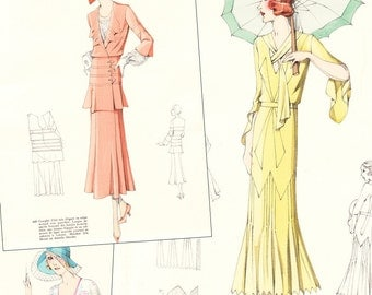 "PDF of 30s haute couture sewing pattern catalog - ""Croquis Original, 42"" High Summer 1931 vintage fashion"