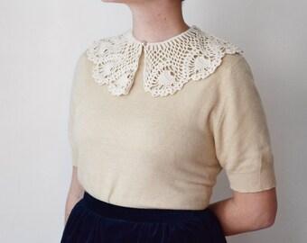 Vintage Ivory Crochet Collar