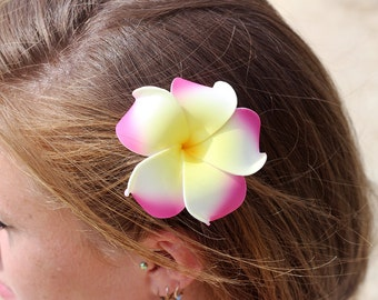 Plumeria Hair Clip, 3 inch, Pink and Yellow, Flower Clip,   HairClips,  Hair Accessory