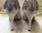 Treasured Shoes-Exqusite vintage  Art Deco rhinestone Crystal embellished Ivory Satin wedding Bridal Shoes - Great Gatsby - Vintage Wedding