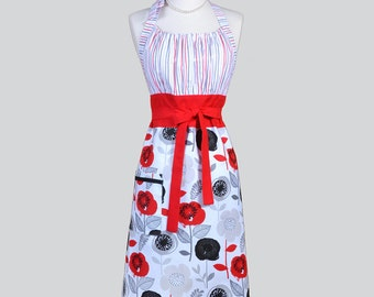 Cute Kitsch Womens Apron / Red Black and White Floral Modern Retro Vintage Style Kitchen Cooking Apron with Pockets