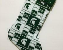 Spartans Michigan State University Fabric Block Pattern with Paisley Cuff Christmas Stocking