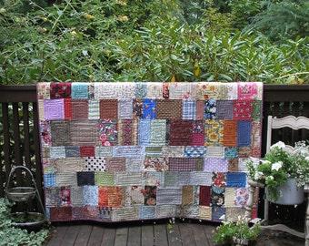 Patchwork Lap Quilt Boho Scrap Quilt Cottage Chic Quiltsy Handmade