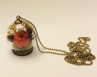 Autumn Botanical Terrarium Jewelry: Fall Wedding, Real Plant Necklace, Pumpkin, Glass Bottle Moss Flower, Bridesmaid Woodland Nature Pendant