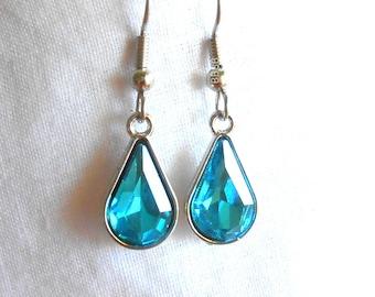 Aquamarine Earrings Rhinestone Earrings Blue Earrings Teardrop Earrings March Earrings Birthstone Earrings