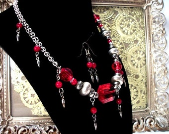Jewelry Set In Silver & Red Chic Necklace and Dangle Drop Earrings for Women FUN Gift ideas for her