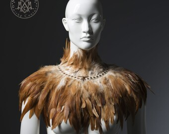 Light brown feather capelet / Feather shoulder wrap shrug / Luxurious tan feather cape / Burning man rusty red feather collar / Boho fashion