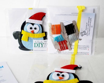 Penguin Hand Sewing Kit,Holiday Felt Penguin with Hat, PreCut Felt, Craft Felt Sewing Kit, Mini Hand Sewing Kit, READY TO SHIP A1244