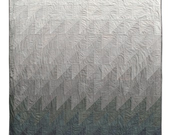 Slant #002 Quilt, Shades of Grey Modern Throw Quilt, Abstract Landscape Art Quilt