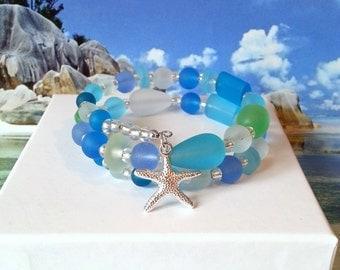 Seaglass starfish memory wire bracelet sea colors beach bracelet sea glass wrap bracelet