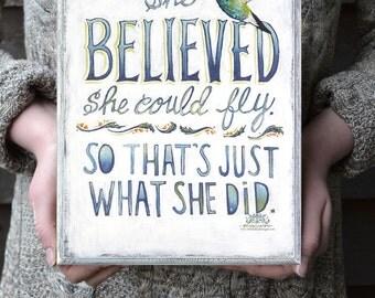 Hummingbird Art, Confidence Quote on Wood Panel, Hummingbird Art Sign, Inspirational Gift for Her, Bird Art, Encouragement Quotes