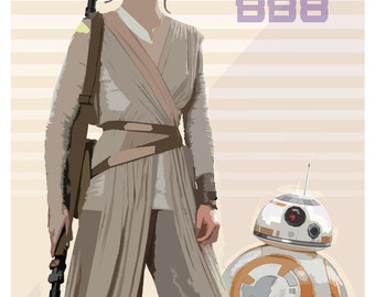 "Rey and BB8 - The Force Awakens print - Star Wars poster - 13""x19"" or 24""x36"" - Star Wars fan gift - StarWars - Rey and BB8 poster art print"