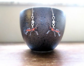 Assassin Bug Earrings - Hand Drawn Shrink Plastic and Sterling Silver