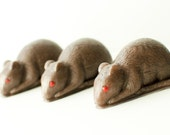 Clearance! Rat Soap - spooky Soap - Gothic Silver, Red eyed rat - Black Amber scented