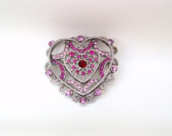Vintage Silver Heart, Heart Pin, Pink Rhinestones, Heart Brooch, Sweetheart Pin, Double Heart, Bridal Accessory
