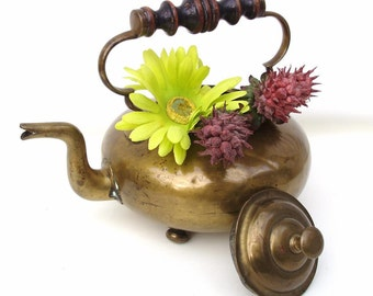 Vintage Brass Tea Pot   Gooseneck Teapot   Hot Toddy Kettle   Rustic Farmhouse - As Is