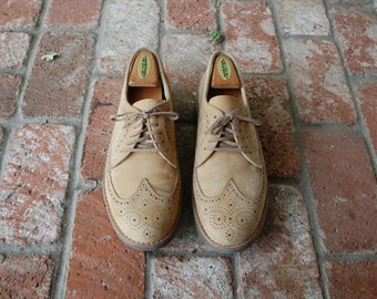 VTG Mens 10.5 Roc Sports Rockport Nubuck Leather Lace up Wingtips Oxfords Brogues Classic Dress Shoes Oxfords Preppy Hipster Wedding Spring