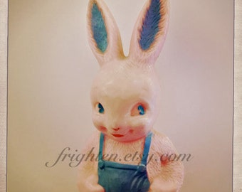 Plastic Rabbit Photo, Weird Easter Art, Vintage Bunny, Pastel Photography, Plastic Kitsch Art, Creepy Bunny