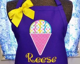 Apron with Snow Cone Personalized Monogrammed Name or Initials