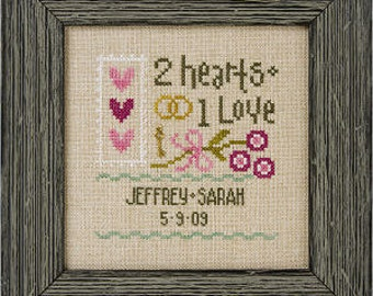 A Little Wedding Kit INCLUDES fabric embellishments : Lizzie Kate counted cross stitch patterns marriage married newlywed anniversary