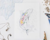 Coral Whale 6x8 Print. A5 Print. Sea Shepherd Charity. Colored Pencil Art. Sealife Art. Wall Art Print. Whale Illustration. Whale Nursey Art