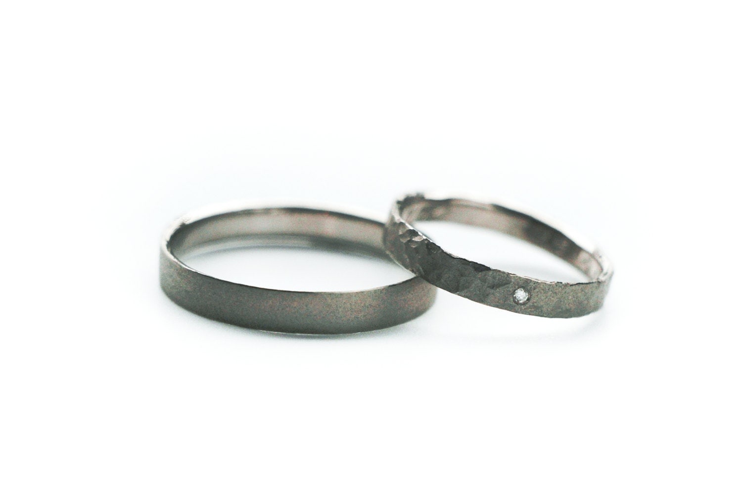 500 Palladium Wedding Rings Set Recycled Palladium Sand And
