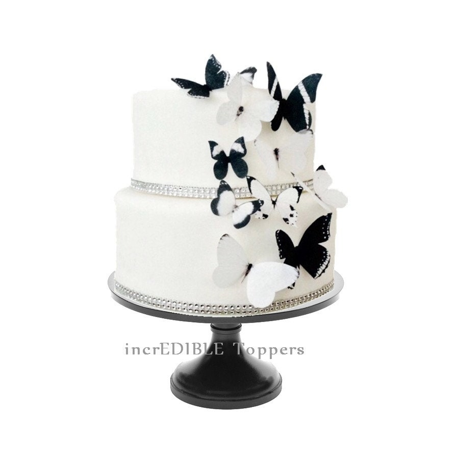 Wedding CAKE TOPPER Edible Butterflies In Black And White