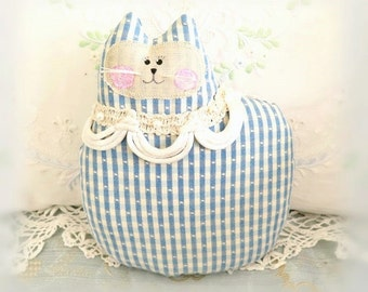 Cat Pillow Doll Cloth Doll, 7 inch Blue and IvoryPrimitive Soft Sculpture Handmade Cottage Chic, CharlotteStyle Decorative Folk Art