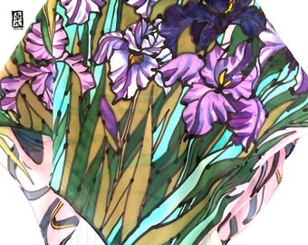 Silk Scarf Square, Hand Painted Silk Scarf, ETSY, Square Silk Scarf, Gift for her, Pink Scarf, Purple Irises Scarf, Takuyo, 35x35 inches