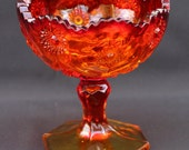 CLOSEOUT:  Kemple Sunburst Amberina Footed Compote
