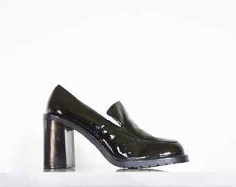 90s Glossy Black Stacked Heel Pumps / Womens Shoes Size 8 US - 38 39 Eur - 6 UK