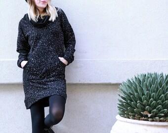 Sweatshirt Dress, Winter Dress, Black and White Dress, Turtleneck dress, Cowl Neck Dress, Tunic Dress, Long sleeves dress