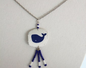 Whale necklace, blue whale jewelry, blue and white seed bead necklace, whale jewelry, blue whale necklace