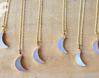 Crescent Moon Druzy Necklace