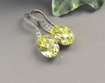 Yellow Earrings - Swarovski Crystal Earrings Silver - Wedding Earrings - Bridesmaid Earrings - Crystal Drop Earrings - Wedding Jewelry
