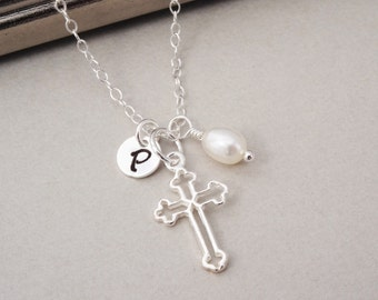 Personalized Sterling Silver Cross Necklace with Pearl, Personalized Initial Necklace, Cross Charm Necklace, Cross Jewelry, Baptism Gift