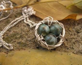 Mother's Day Three Bird Nest with Robin Eggs and Sterling Silver; Robin Bird Nest Necklace, Three Egg Nest, Three Bird Nest