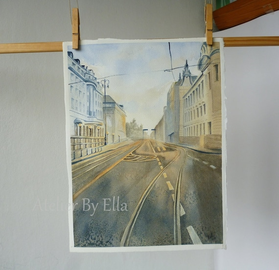 Original Watercolor Painting The Streets Of Zagreb, Cityscape Painting