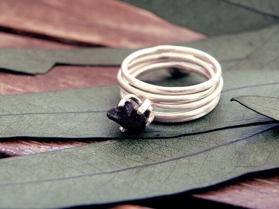 yx ring stacking ring set black onyx rings set